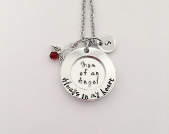 Mom of an Angel necklace. Always in my heart. Handstamped memorial necklace. PAIL necklace. Memorial Jewelry.