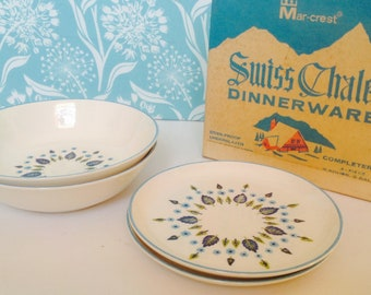 NOS 4 piece set Stetson Marcrest Swiss Alpine dinnerware, soup bowls, salad plates, mid century dishware, Swiss Chalet, green and blue leaf