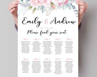 PRINTABLE Wedding Seating Chart  printable wedding seating chart, seating arrangements, Personalized seating table plan