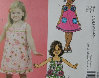 McCalls M6061 FunSewNow! in sizes 2-3-4-5 Girls Top, Dresses and Pants (uncut)