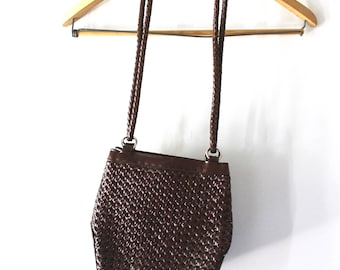 vintage brown woven leather shoulder bag