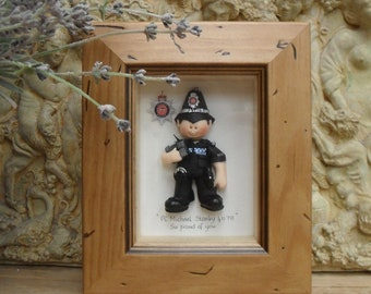 PERSONALISED POLICE Retirement, Promotion, Birthday Framed Gift, Polymer Clay Characters