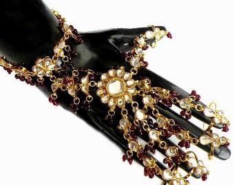 Indian Wedding Bridal Jaipuri Jewelry Partywear Gold Plated Kundan Bracelet 5-Rings Panja 1pc