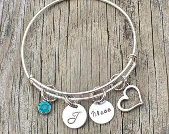 Graduation Gift - Niece bracelet  - Niece jewelry - Niece gift - Charm bracelet - Niece - Gift for niece - Niece charm bracelet -