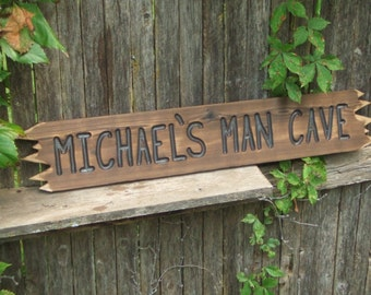 Custom Wood sign - MAN CAVE - hand carved -- rustic un painted -- reclaimed western cedar