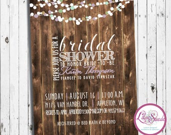 Party lights - primitive, rustic, unique layout, fun - bridal shower invitation - DIY - PRINT YOURSELF or purchase prints