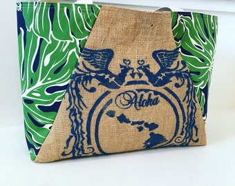Hawaiian Queen Coffee Sack Tote / Monstera Fabric/ Beach Bag/ Market Tote