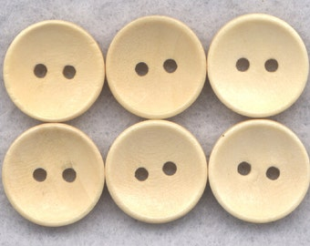 Natural Wood Buttons Plain Simple Wooden Buttons 13mm (1/2 inch) Set of 12/BT274