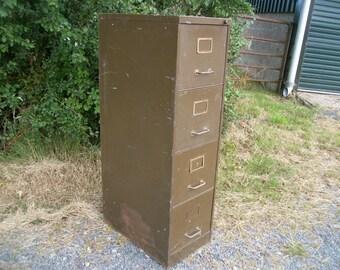 Vintage Metal Green Filing Cabinet.