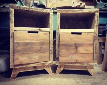 Pair of rustic bedside cupboards/night stands.
