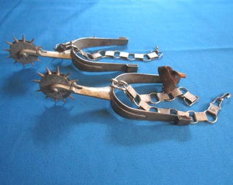 Antique Vintage Pair of Forged Steel Cowboy Spurs Collectibles