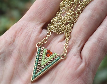 Zola elements mountain meadow triangle necklace, gold plated, boho necklace, bohemian necklace, boho jewelry, stocking stuffer