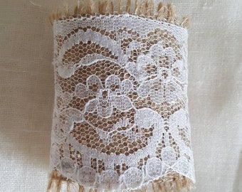 Wedding napkin holder, burlap and lace, hessian, rustic wedding table decor, napkin ring, rustic