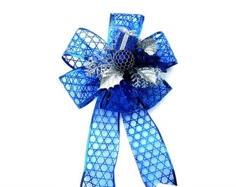 Christmas decorative bow, Bow for wreaths, Home decor accessory, Gift wrap embellishment, Gift basket bow, Christmas tree bow, Christmas bow