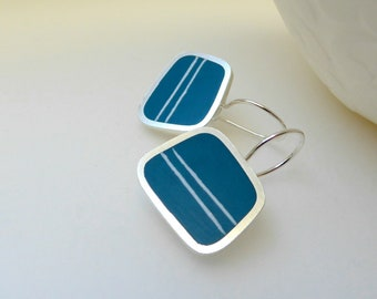 Striped Teal Blue Earrings - Square Silver Earrings - Gift for Sister - Contemporary Jewellery - Graphico Striped Earrings