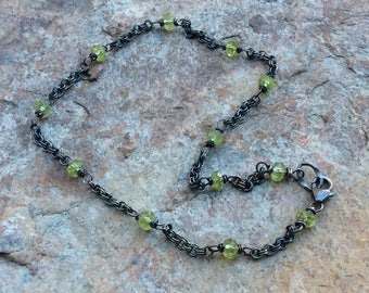 PERIDOT anklet, Peridot jewelry, sterling silver anklet, ankle bracelet, August birthstone, Summer jewelry, handmade jewelry, artisan made