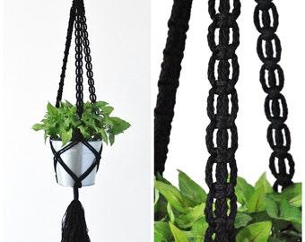 MACRAME PLANT HANGER // Hanging Plant holder // Black Hanging Planter