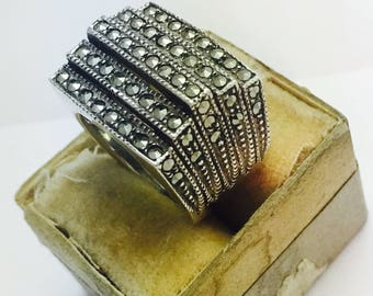 Vintage Sterling Silver and Marcasite Art Deco 3D Stacked Layer Ring - Size 6 - 8.7 Grams