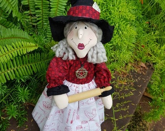 Kitchen Witch-Ingrid standing kitchen witch with rolling pin-rustic country kitchen witch-baking witch doll-magical country kitchen decor.