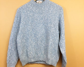 Vintage 70's Countess Mara Wool Blend Blue & White Sweater Medium