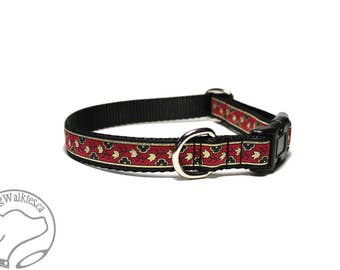 """Mini Magic Carpet Dog Collar - 3/4"""" (19mm) Wide - Martingale or Side Click Buckle - Choice of collar style and size // Red // Gold // Black"""