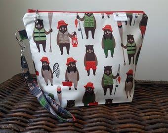 "Knitting Project Bag - Medium ""Fishing Bears"""