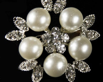 Pearl Brooch pin, Rhinestone and Pearl Brooch, Crystal and Pearl Brooch, Pearl Broach, Wedding Broaches, DIY Brooch Bouquet Supplies