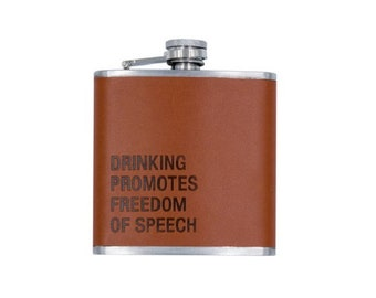 Freedom Of Speech Leather Wrapped Flask
