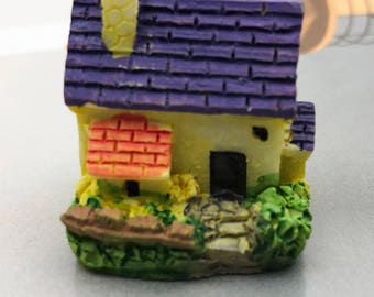 1 PC Bright Blue Cottage House Tiny Miniature Garden Plants Terrarium Doll House Ornament Fairy Decoration BB2518