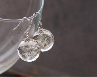 Dandelion earrings ⇷16mm⇸ Crystal resin dangle earrings | Real Dandelion Seeds jewelry Sphere earrings Gift from nature Make a wish jewelry
