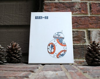 "8""x10"" BB-8 Inspired Hand-Inked Wrapped Canvas"