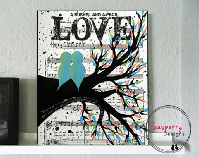 Wedding Gifts, Wedding Gift First Dance Lyrics, Love Bird Painting, Newlywed Gift, Engagement Gift, Gift for Bride, Music Sheet Art