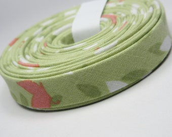 Double Fold Bias Tape - Michael Miller Green Blossoms - 3 Yard Bundle