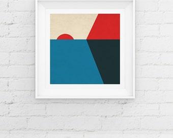 Geometric Minimal Sunset, Scandinavian Style Giclee Art Print Gift Poster