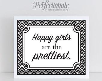 Happy Girls are the Prettiest Instant Download | Audrey Hepburn Quote | Audrey Digital Art