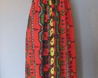 70s Black and Orange Maxi Dress