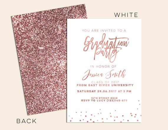 rose gold graduation invitation Rose Gold Grad Announcement
