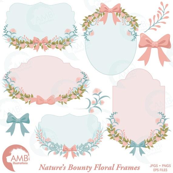 Floral Frames, Botanical clipart Frames, Wedding forest clipart ...