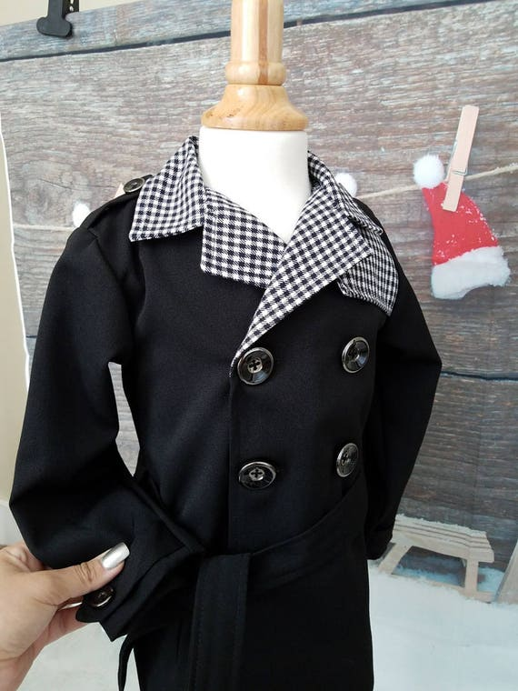 b83613c5247a Teenage Boy S Black Skull Trench Coat Costume Front View. 2655 The Burberry  Boys Isaac Likes