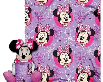 """Minnie Mouse """"Minnie Bowtique"""" Character and Throw Set Hugger Set - Personalized"""