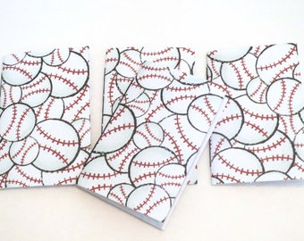Baseball notebook, softball notebook, black and white journal handmade notebook, stitched blank journal, kid's party, NaNoWriMo journal