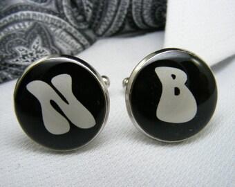 Single Initial Monogram Cufflinks - Single Letter cufflinks - Monogrammed - Personalized Cufflinks - Custom Cufflinks - Mens Accessories