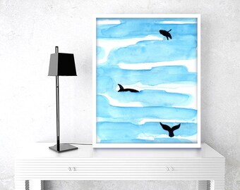 Whale digital instant download, whale modern art, whale minimalism, printbale whale art, modern watercolor, whale decor, whale painting