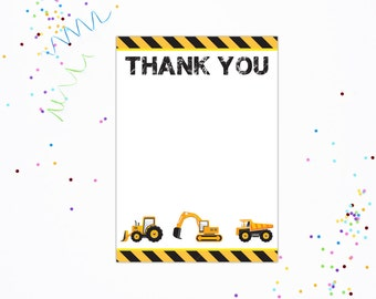 Construction Party Thank You - Construction Thank You Card - INSTANT DOWNLOAD  - Printable Thank You Card by Printable Studio