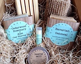 MEN'S SOAP SET -  Beer Soap Basket - Handmade Soap Gift Basket - holiday gift box - beer soap - gift for him