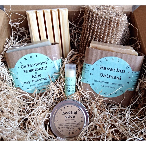 Fathers Day MEN'S SOAP SET -  Beer Soap Basket - Handmade Soap Gift Basket - holiday gift box - beer soap - gift for him