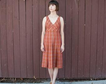 Vintage Max Mara Plaid Pleated Simple Dress