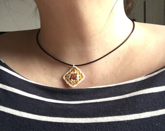 Crochet Granny Square Leather Cord Necklace
