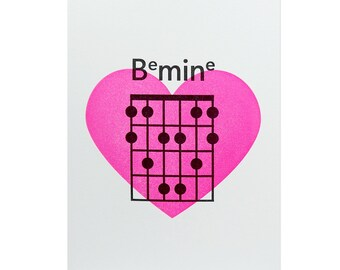 Be Mine Letterpress Card // Valentine's Day // Guitar Chord // Love