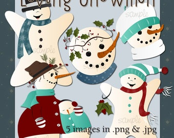 Loving Snowmen - Digital Images for Scrapbook and Paper Crafts